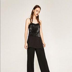 Zara Black Asymmetric Sparkle Sequin Tunic Top S